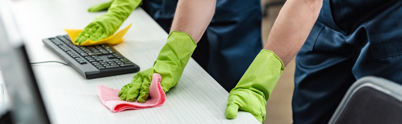 Commercial cleaners cleaning office space